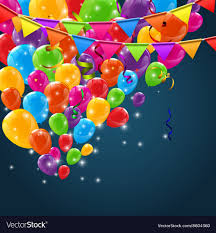 Happy Birthday Balloons Banner Color Glossy Happy Birthday Balloons Banner Vector Image