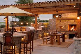 Rustic Outdoor Kitchen Kitchen Rustic Outdoor Kitchens With Natural Stones Fireplace And