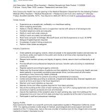 listing temp positions on resume custom argumentative essay and   medical assistant job description sample and receptionist resume