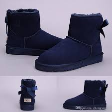 new arrival wgg women s australia classic grey navy blue ankle boots black chestnut snow winter bow tie boots leather shoes size 36 41 high heel shoes
