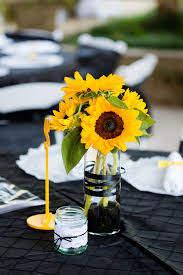 Creative Idea:Lovely Yellow Sunflowers Wedding Table In Wine Bottles  Centerpieces Www.joelandamberphotography.