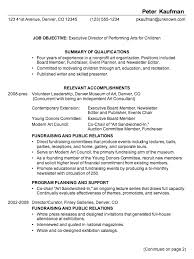 Combination Resume Example Executive Director Performing Arts P1