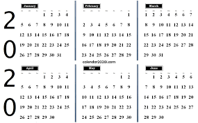 Printable Calendars For 2020 6 Months 2020 Half Year Printable Calendar Calendar 2020