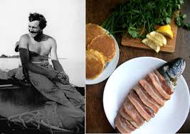 ernest hemingway bacon wrapped trout corn cakes paper and salt were