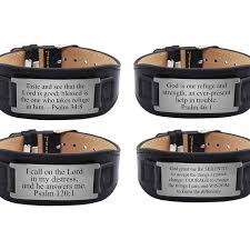 men s genuine leather scripture bracelet by pink box