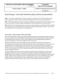 Project Manager Responsibilities List Team Leader Description Roles