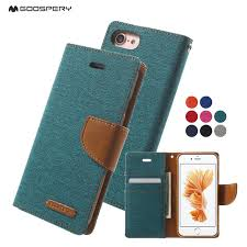 mercury goospery for iphone 7 7plus case canvas wallet leather case for iphone 4 4s 5
