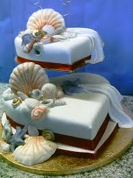 2 Tier Heart Shaped Wedding Cake With Sea Shells Fresco Cakes Flickr