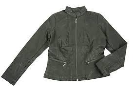 bernardo faux leather moto style jacket for women s army green
