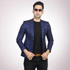 Balzer Designs For Man Navy Blue Jacquard Blazer For Men