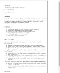 Resume Templates: Horticulture And Landscape Design