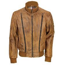 mens vintage real leather er jacket detachable hood