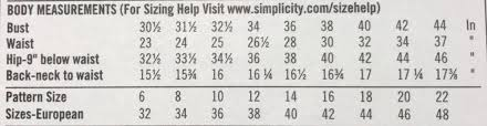 Simplicity Pattern Size Chart Sewing Pattern A Guide On How To Pick Out Read And
