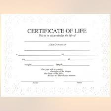 personalized stillborn certificate certificate of life as gift certificate template