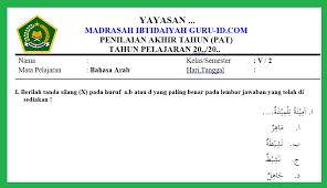 Perolehan siswa scor penilaian = × 100 50 contoh: Soal Jawaban Pat Bahasa Arab Kelas 5 Semester 2 Tahun 2021 Info Pendidikan Terbaru