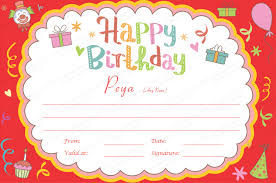 Free Birthday Gift Certificate Templates Certificate Template