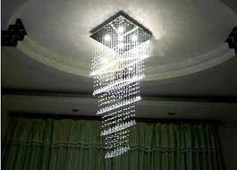 led crystal chandelier modern floor luxury square crystal chandelier fishing line stairs light