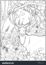 Coloring Page Deer Forest Coloring Book Stock Vector 462742483 ...