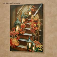 Fall Lighted Canvas Harvest Stairway Led Lighted Canvas Wall Art Fall Yard