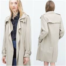 zara stone dy long trenchcoat lapel collar woman authentic bnwt 0518 052