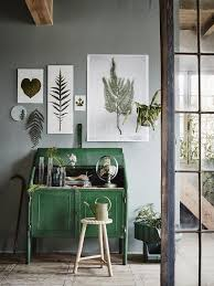 home office ideas with nature inspired wall art decor and bright green office desk furniture color scheme and round wood stool and gray wall paint color and  on nature inspired wall art with home office ideas with nature inspired wall art decor and bright