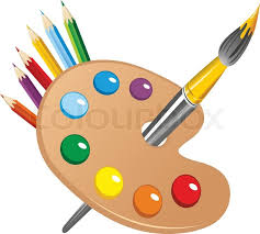 art pallet. art palette with paint brush and pencils tools for drawing vector   stock colourbox pallet d
