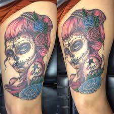 Color Day Of The Dead Girl Tattoo Done By Bob Price At Inferno