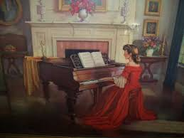 woman in red dress playing piano painting mafiaa
