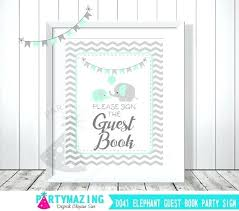 Elephant Baby Shower Guest Book Guest Book Sign Mint And Grey