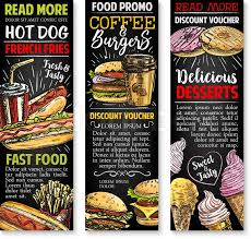 Food Voucher Template Cool Fast Food Sketch Banners Template Vector Cheeseburger Burger Or