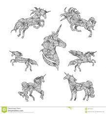Insieme Degli Unicorni Grafici Neri Illustrazione Vettoriale Con