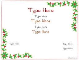 Plain Gift Certificate Template Blank Certificate Christmas Certificate Template