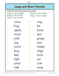 These free worksheets are printable and designed to accommodate any lesson plan for reading that includes phonics. Long And Short Vowel Worksheet Phonics Worksheets