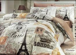 paris themed duvet covers home cotton comforter set single twin size tower vintage brown bedding set