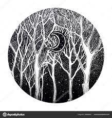 полесская ночь дерево пейзаж с луны векторное изображение