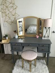 diy vanity make over spray painted my old black vanity matte grey and shiny gold
