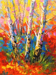 birch trees paintings impressionism botanical landscape wildlife canvas oil