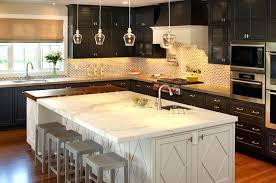 black and white kitchen islands black perimeter cabinets and white kitchen island view full size white
