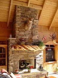 rustic stone fireplace mantel rustic living room