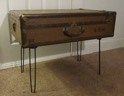 Attractive Steamer Trunk End Table Luggage Brown