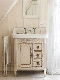 Rustic Bathroom Distressed White Wall Color For Country Styled Bathroom Decor