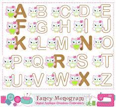 Owl Birthday Applique Design Owl Monograms Applique Birthday Letters Applique Alphabet