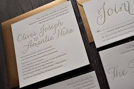 real wedding amanlie and oliver metallic gold letterpress Wedding Invitations With Letterpress metallic letterpress wedding invitations wedding invitations letterpress affordable