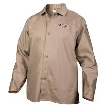 lincoln electric fire resistant large khaki cloth welding jacket