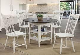 cm3754rt 5pc 5 pc ann lee ii antique white antique oak finish wood round dining table set