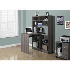 monarch specialties 2 in 1 piece dark taupe office suite