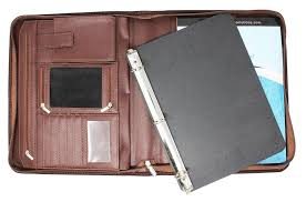 padfolio business leather portfolio zippered removable binder office organizer