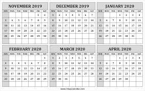 Blank November 2019 To April 2020 Calendar Editable