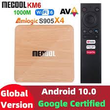 Mecool KM6 Bản Cao Cấp Amlogic S905X4 Tivi Box Android 10 4GB 64GB Wifi 6  Google Chứng Nhận Hỗ Trợ AV1 BT5.0 1000M Set Top Box|Set-top Boxes