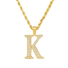 14k yellow gold diamond initial letter k pendant 0 81 ctw